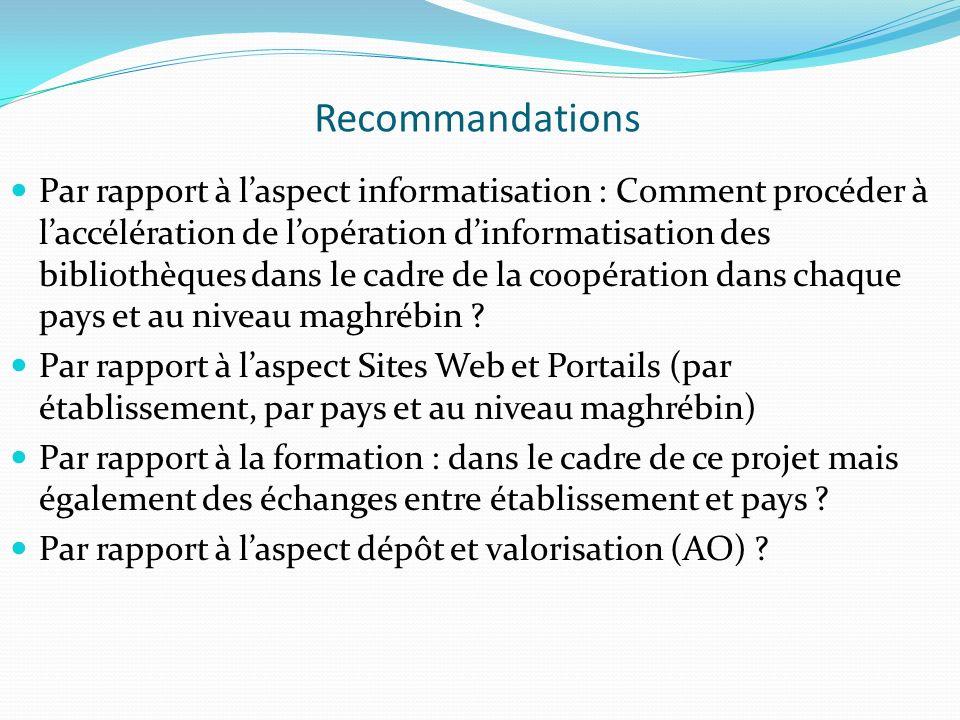 Recommandations Par rapport à laspect informatisation : Comment procéder à laccélération de lopération dinformatisation des bibliothèques dans le cadr