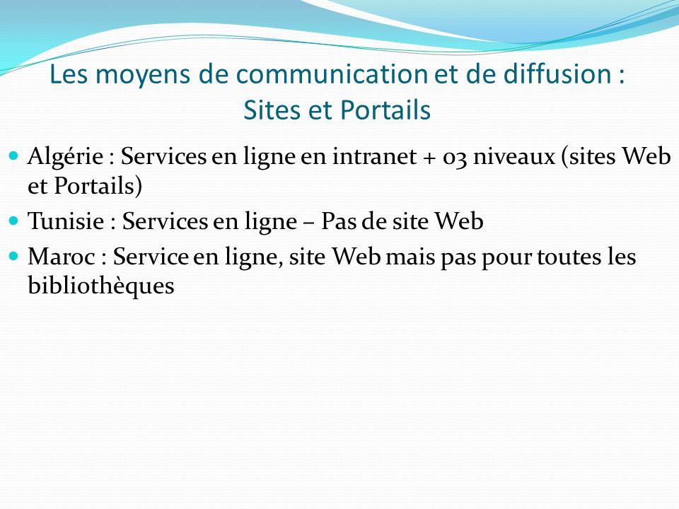 Les moyens de communication et de diffusion : Sites et Portails Algérie : Services en ligne en intranet + 03 niveaux (sites Web et Portails) Tunisie :