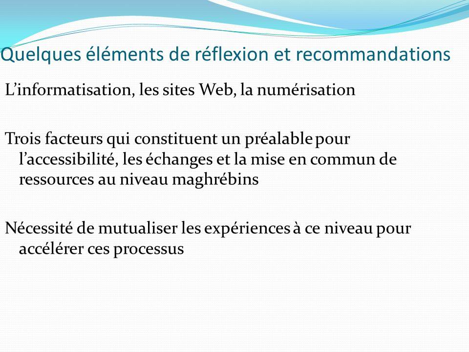 Quelques éléments de réflexion et recommandations Linformatisation, les sites Web, la numérisation Trois facteurs qui constituent un préalable pour laccessibilité, les échanges et la mise en commun de ressources au niveau maghrébins Nécessité de mutualiser les expériences à ce niveau pour accélérer ces processus