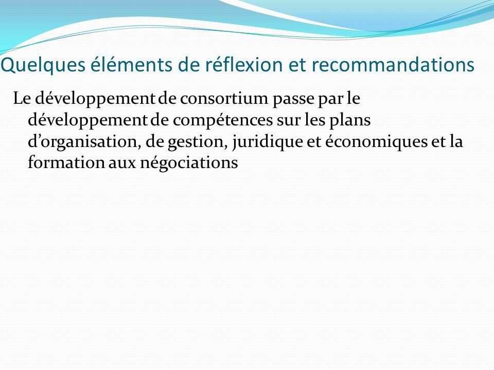 Quelques éléments de réflexion et recommandations Le développement de consortium passe par le développement de compétences sur les plans dorganisation, de gestion, juridique et économiques et la formation aux négociations