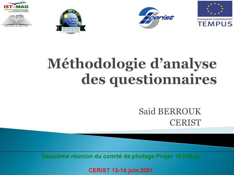 Said BERROUK CERIST Deuxième réunion du comité de pilotage Projet ISTeMag CERIST 13-14 juin 2001