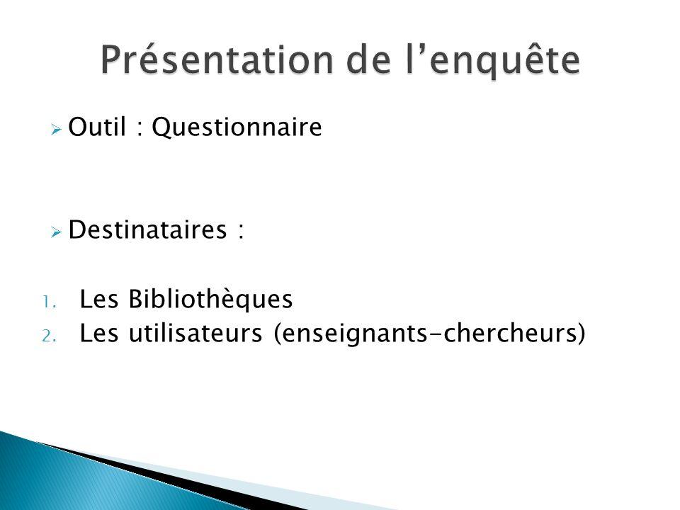 Outil : Questionnaire Destinataires : 1. Les Bibliothèques 2.