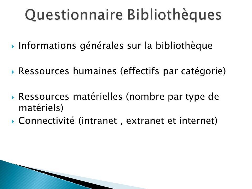 Informations générales sur la bibliothèque Ressources humaines (effectifs par catégorie) Ressources matérielles (nombre par type de matériels) Connectivité (intranet, extranet et internet)