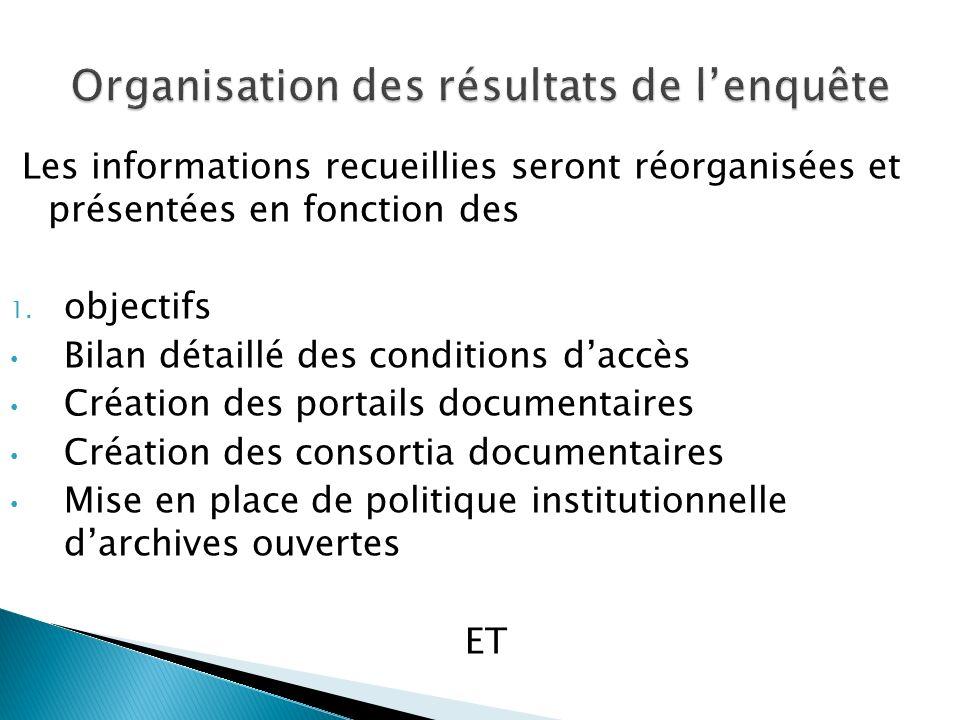 Les informations recueillies seront réorganisées et présentées en fonction des 1.