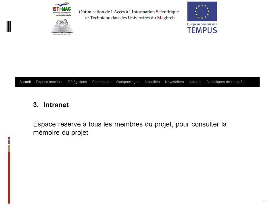 11 3.Intranet Espace réservé à tous les membres du projet, pour consulter la mémoire du projet