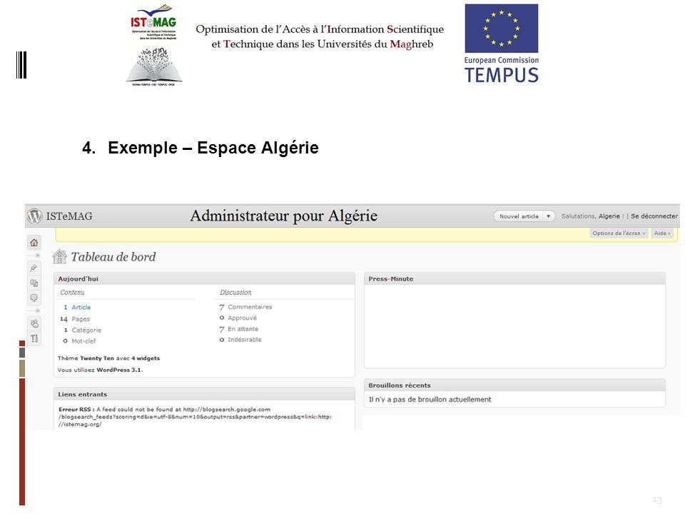 13 4.Exemple – Espace Algérie