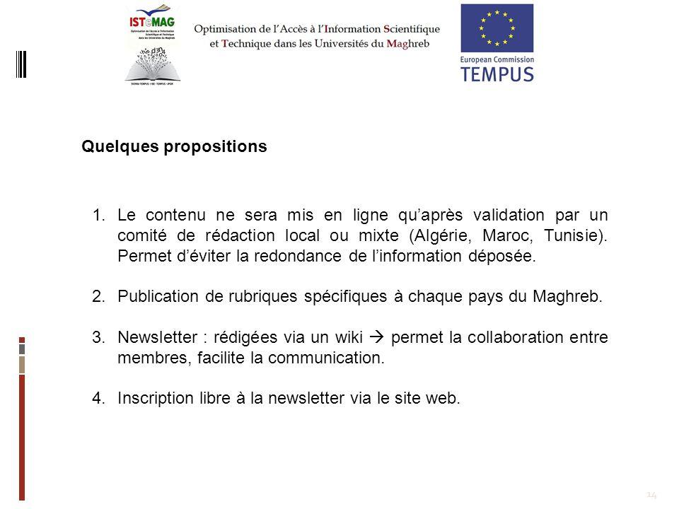 14 Quelques propositions 1.Le contenu ne sera mis en ligne quaprès validation par un comité de rédaction local ou mixte (Algérie, Maroc, Tunisie). Per