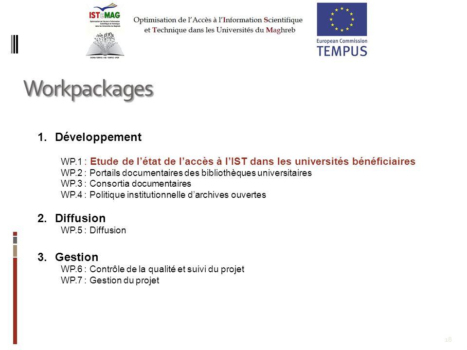 18 1.Développement WP.1 : Etude de létat de laccès à lIST dans les universités bénéficiaires WP.2 : Portails documentaires des bibliothèques universit