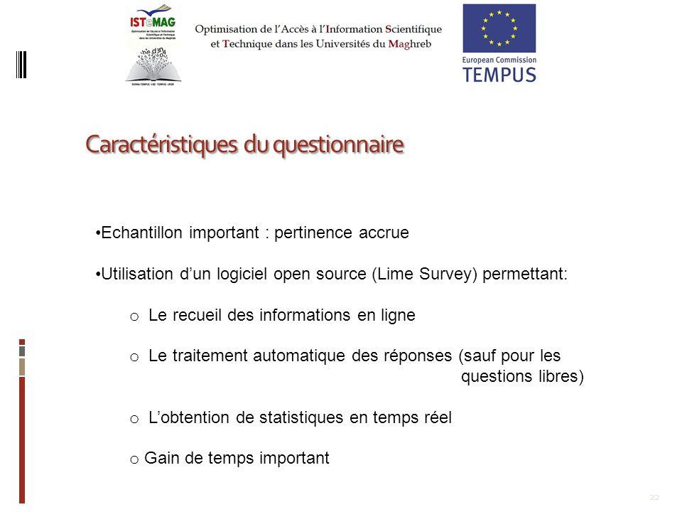 22 Caractéristiques du questionnaire Echantillon important : pertinence accrue Utilisation dun logiciel open source (Lime Survey) permettant: o Le rec