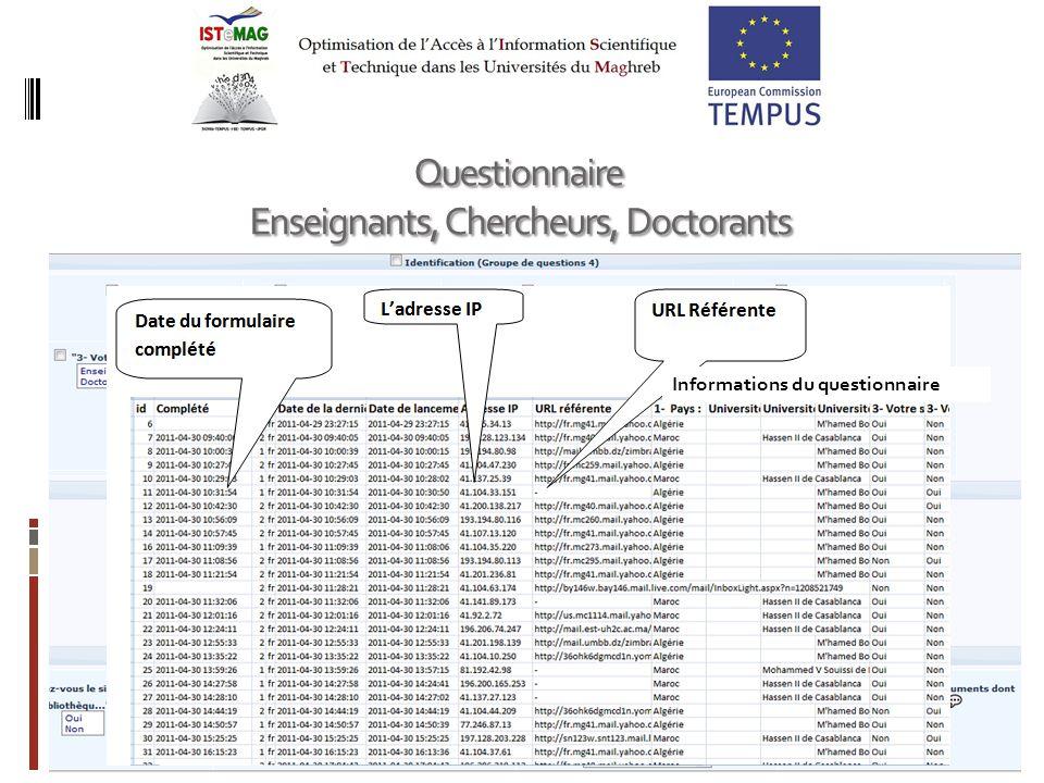 23 Questionnaire Enseignants, Chercheurs, Doctorants Enseignants, Chercheurs, Doctorants Informations du questionnaire