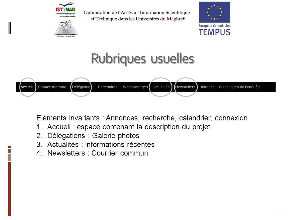 7 Rubriques usuelles Eléments invariants : Annonces, recherche, calendrier, connexion 1.Accueil : espace contenant la description du projet 2.Délégati