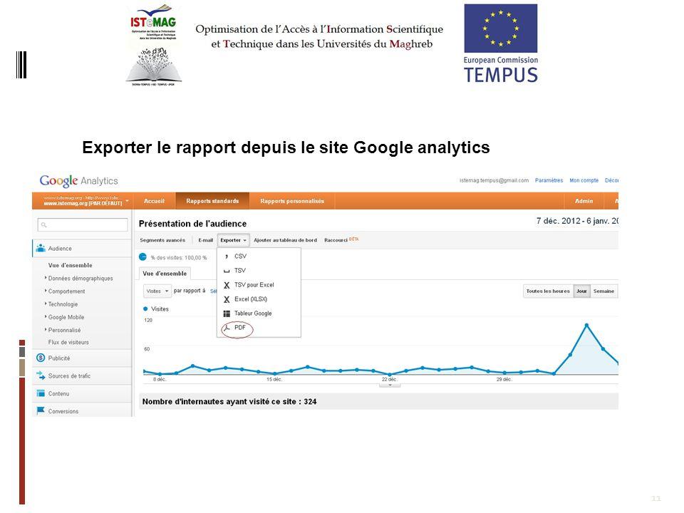 11 Exporter le rapport depuis le site Google analytics