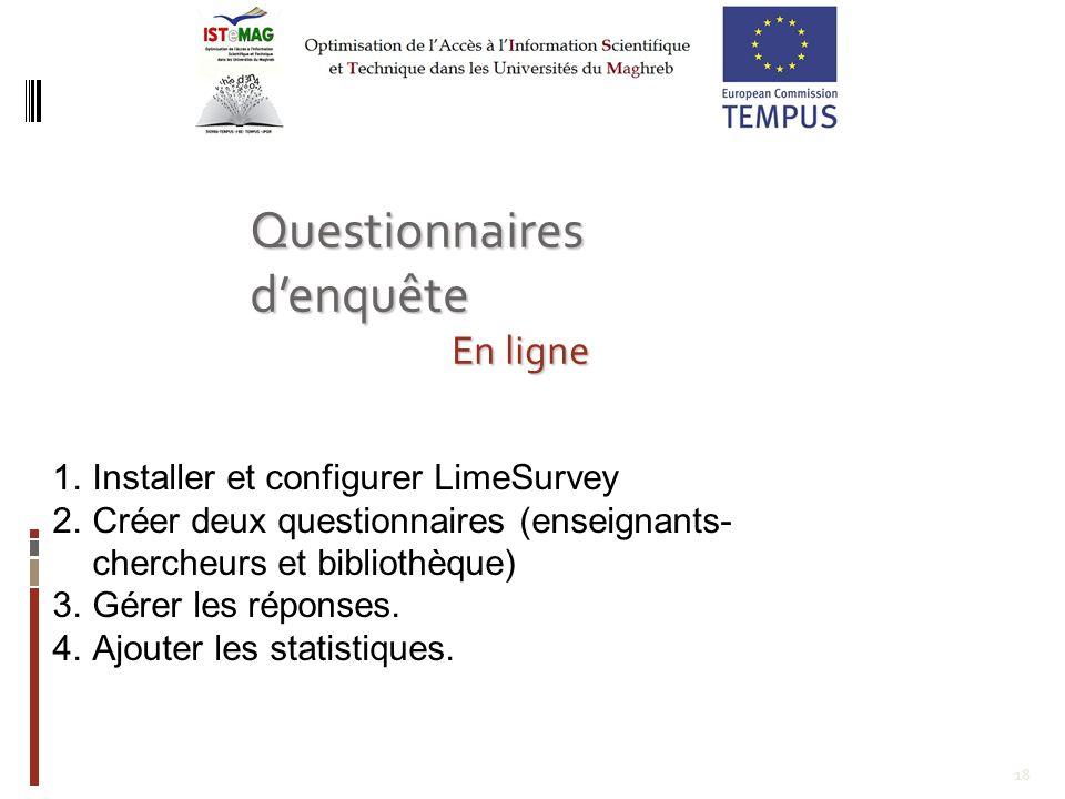 18 1.Installer et configurer LimeSurvey 2.Créer deux questionnaires (enseignants- chercheurs et bibliothèque) 3.Gérer les réponses.