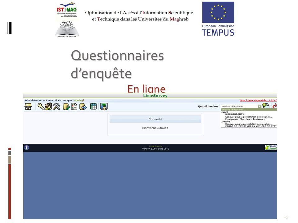 19 Questionnaires denquête En ligne