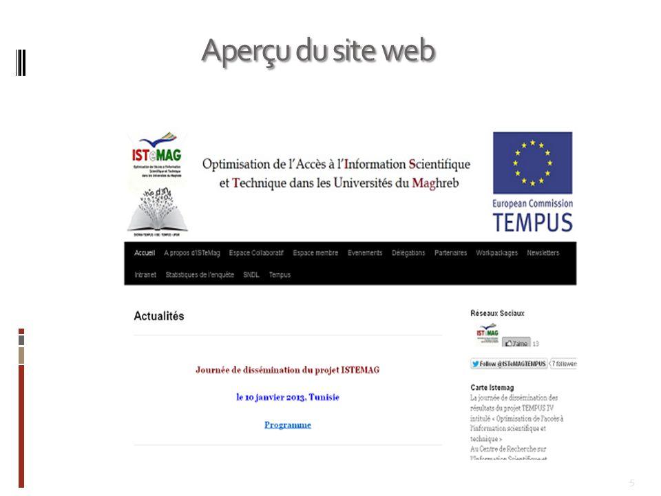 5 Aperçu du site web