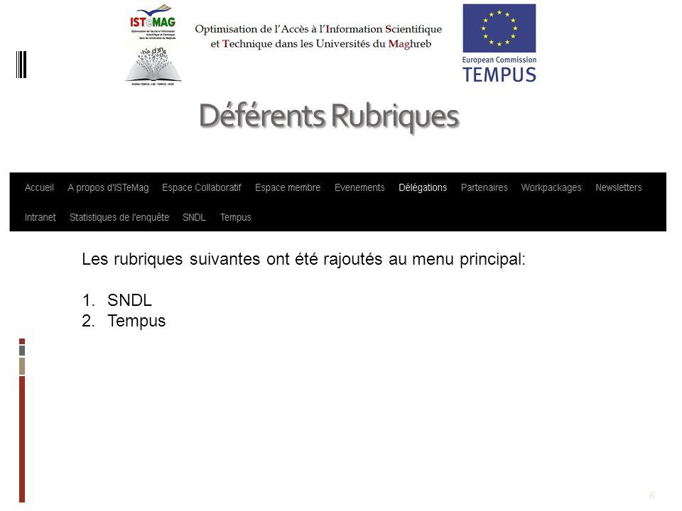 6 Déférents Rubriques Les rubriques suivantes ont été rajoutés au menu principal: 1.SNDL 2.Tempus