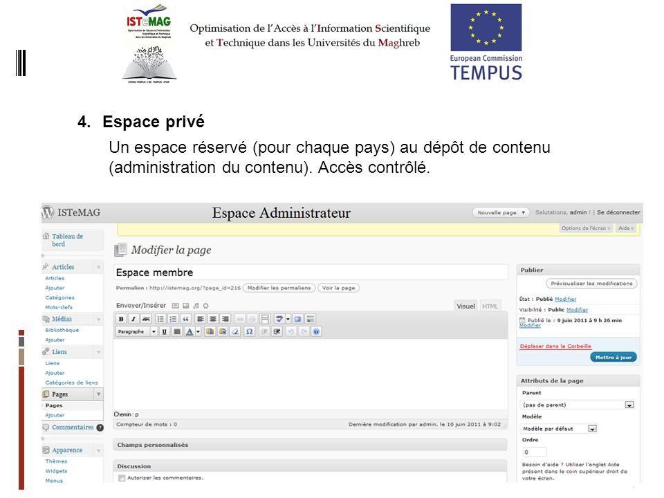 7 4.Espace privé Un espace réservé (pour chaque pays) au dépôt de contenu (administration du contenu).