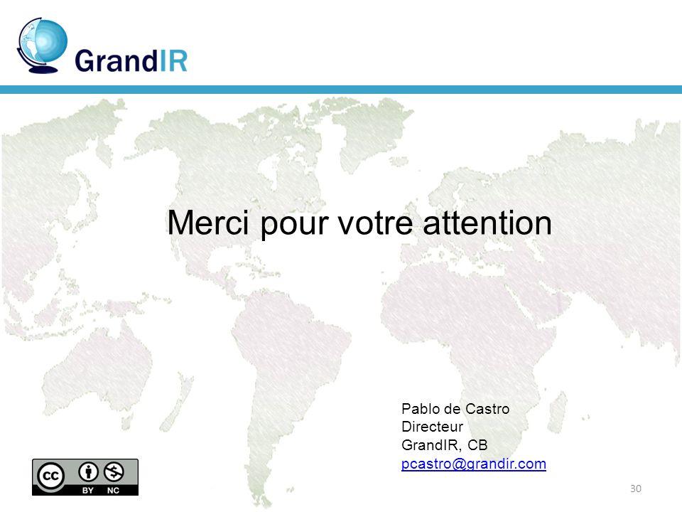 Merci pour votre attention Pablo de Castro Directeur GrandIR, CB pcastro@grandir.com 30