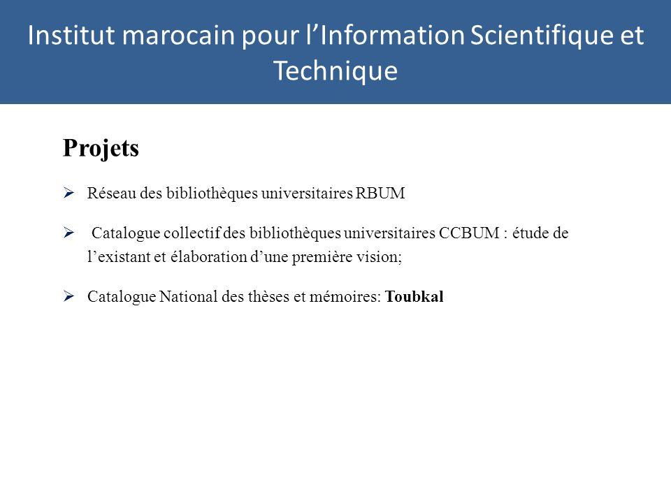 Institut marocain pour lInformation Scientifique et Technique Projets Réseau des bibliothèques universitaires RBUM Catalogue collectif des bibliothèqu