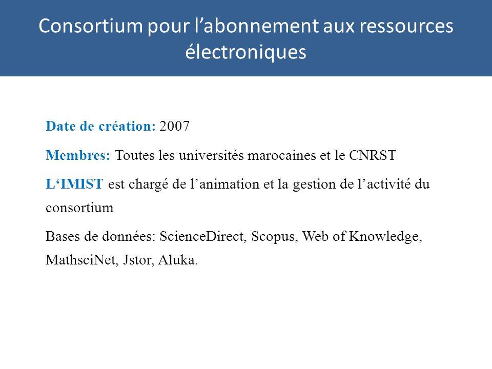 Consortium pour labonnement aux ressources électroniques Date de création: 2007 Membres: Toutes les universités marocaines et le CNRST LIMIST est chargé de lanimation et la gestion de lactivité du consortium Bases de données: ScienceDirect, Scopus, Web of Knowledge, MathsciNet, Jstor, Aluka.