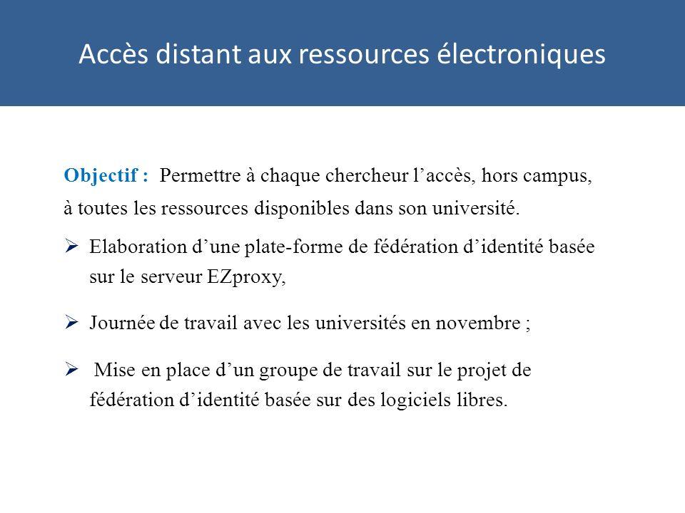 Accès distant aux ressources électroniques Objectif : Permettre à chaque chercheur laccès, hors campus, à toutes les ressources disponibles dans son université.
