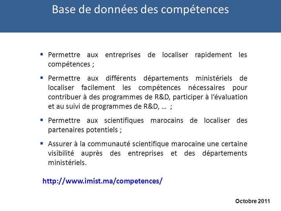 Permettre aux entreprises de localiser rapidement les compétences ; Permettre aux différents départements ministériels de localiser facilement les compétences nécessaires pour contribuer à des programmes de R&D, participer à lévaluation et au suivi de programmes de R&D, … ; Permettre aux scientifiques marocains de localiser des partenaires potentiels ; Assurer à la communauté scientifique marocaine une certaine visibilité auprès des entreprises et des départements ministériels.