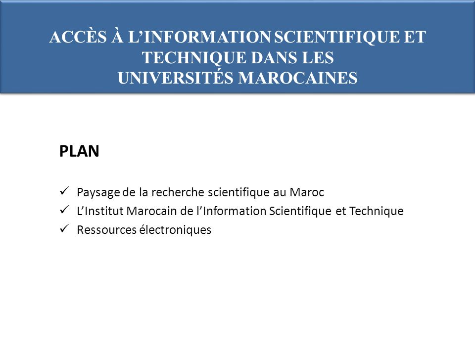 Formation: Recherche sur les ressources électroniques Formation à lutilisation de Science Direct et Scopus : plus 500 participants dans 6 universités ; Atelier de formation de formateurs organisé au CNRST en février : 38 participants de 12 universités ; Formation Web of knowledge: plus de 600 dans 6 universités