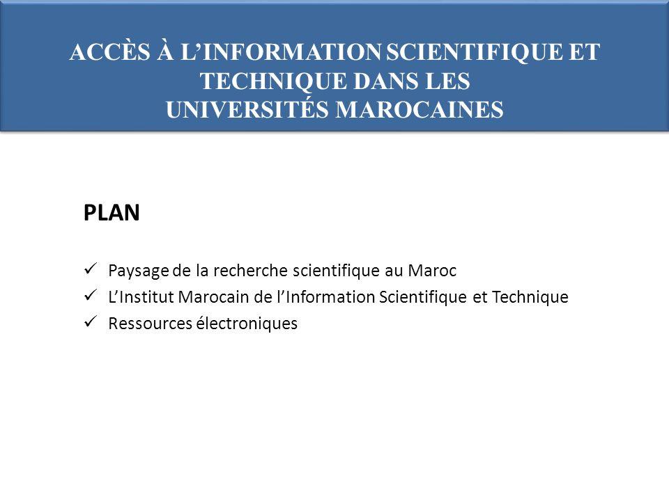 PLAN Paysage de la recherche scientifique au Maroc LInstitut Marocain de lInformation Scientifique et Technique Ressources électroniques ACCÈS À LINFORMATION SCIENTIFIQUE ET TECHNIQUE DANS LES UNIVERSITÉS MAROCAINES