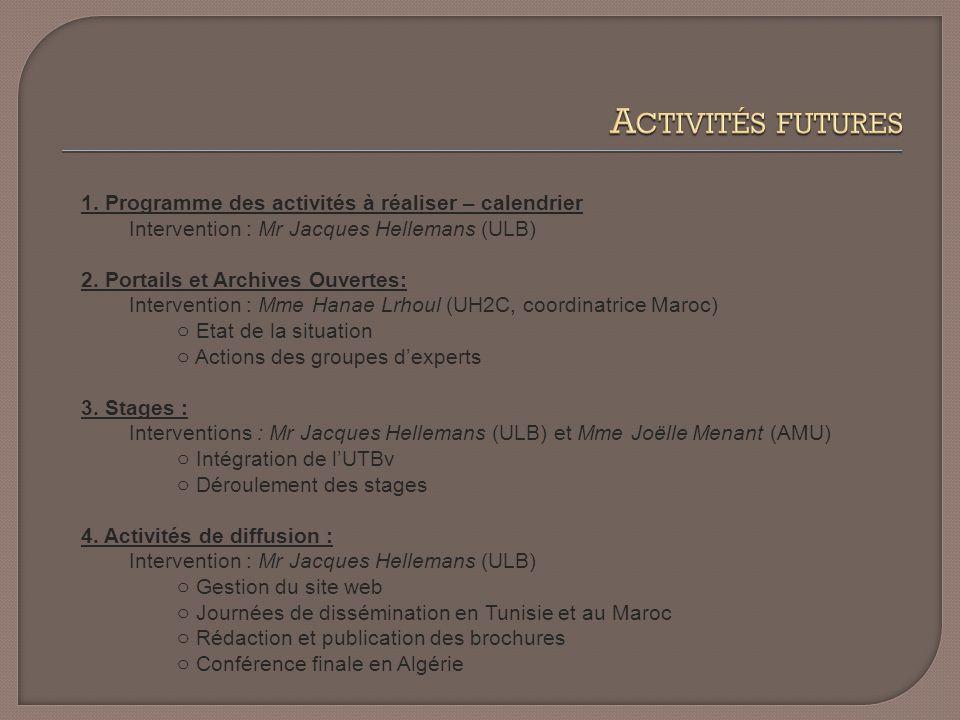 1. Programme des activités à réaliser – calendrier Intervention : Mr Jacques Hellemans (ULB) 2.