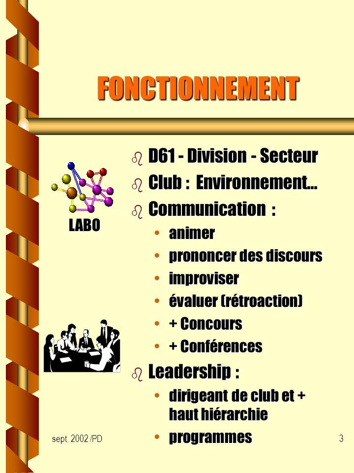 sept. 2002 /PD3 FONCTIONNEMENT b D61 - Division - Secteur b Club : Environnement...