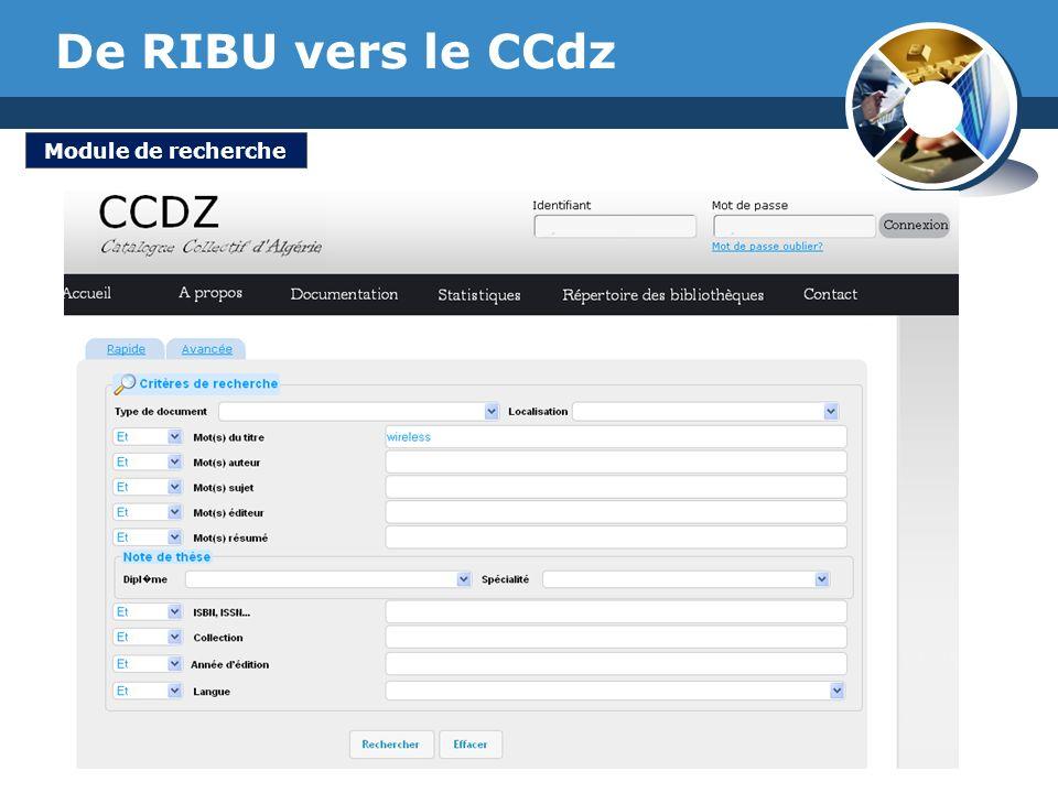 www.thmemgallery.com Company Logo De RIBU vers le CCdz Module de recherche