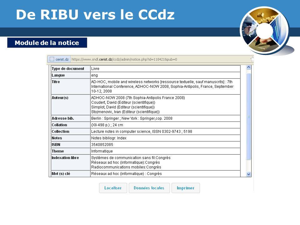 www.thmemgallery.com Company Logo De RIBU vers le CCdz Module de la notice