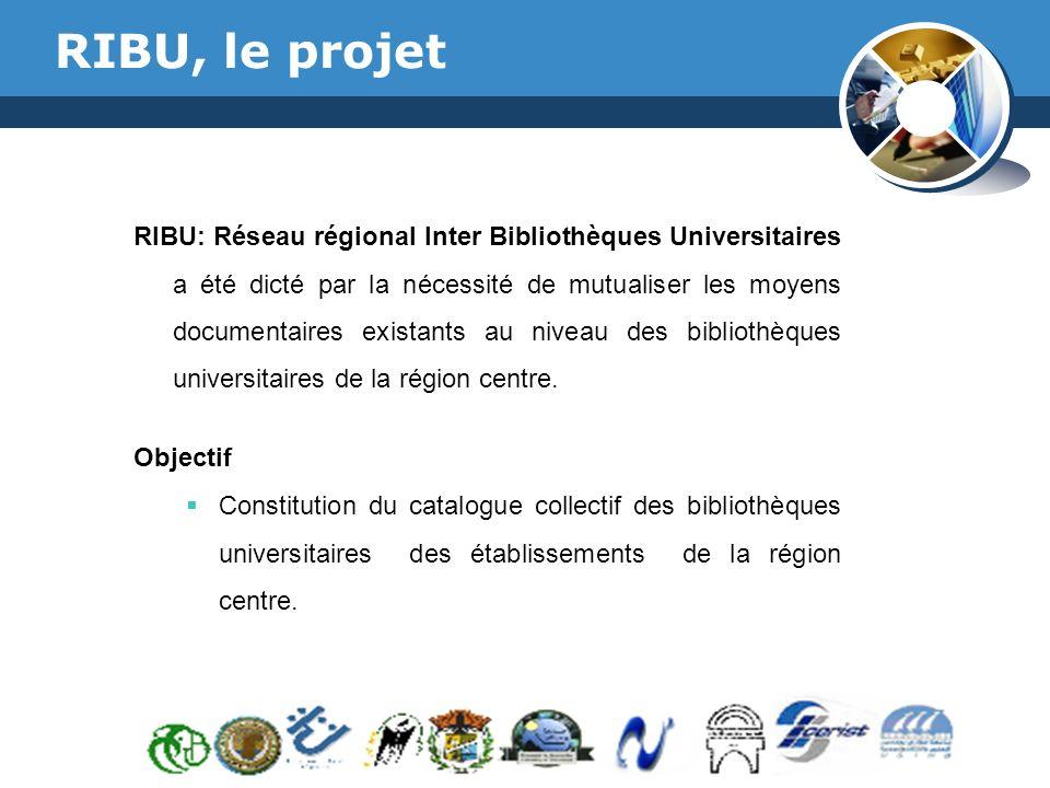 www.thmemgallery.com Company Logo RIBU, le projet RIBU: Réseau régional Inter Bibliothèques Universitaires a été dicté par la nécessité de mutualiser les moyens documentaires existants au niveau des bibliothèques universitaires de la région centre.