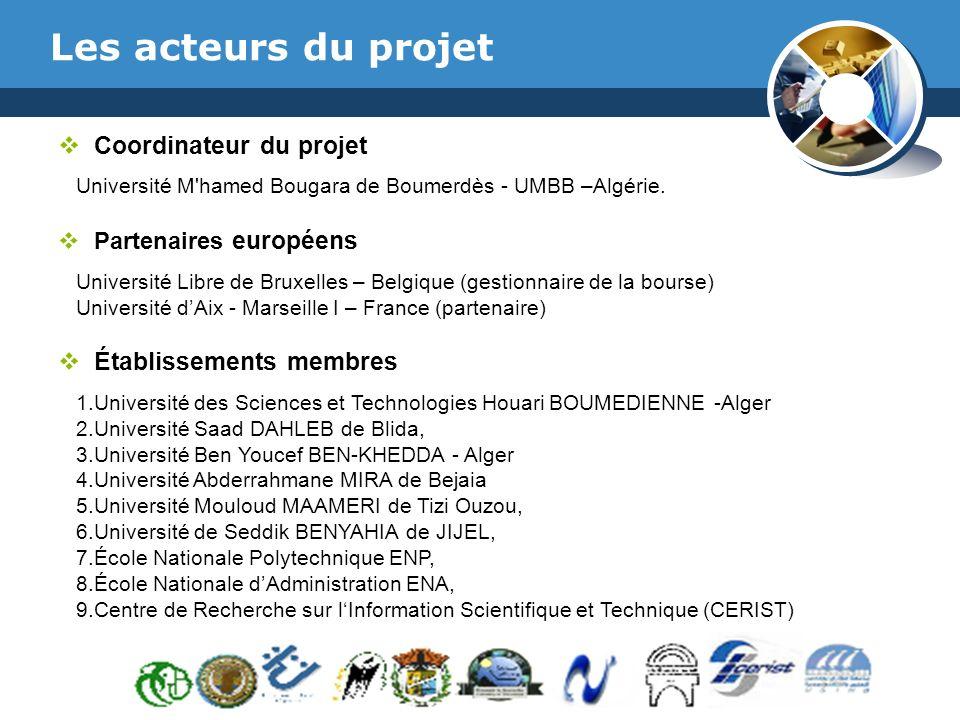 www.thmemgallery.com Company Logo Les acteurs du projet Coordinateur du projet Université M hamed Bougara de Boumerdès - UMBB –Algérie.