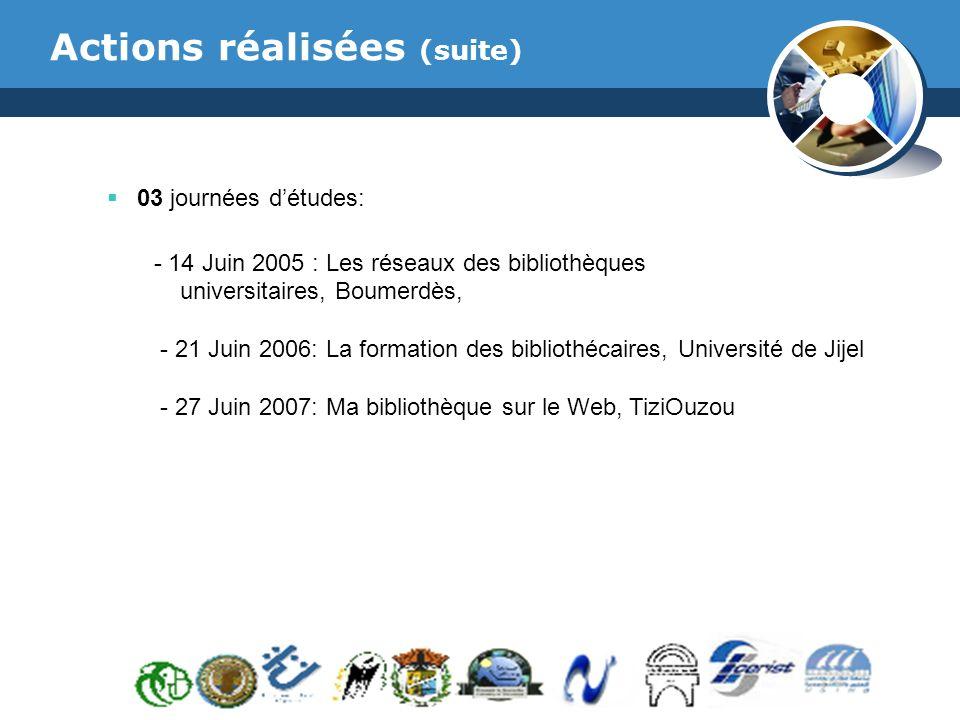 www.thmemgallery.com Company Logo Actions réalisées (suite) 03 journées détudes: - 14 Juin 2005 : Les réseaux des bibliothèques universitaires, Boumerdès, - 21 Juin 2006: La formation des bibliothécaires, Université de Jijel - 27 Juin 2007: Ma bibliothèque sur le Web, TiziOuzou