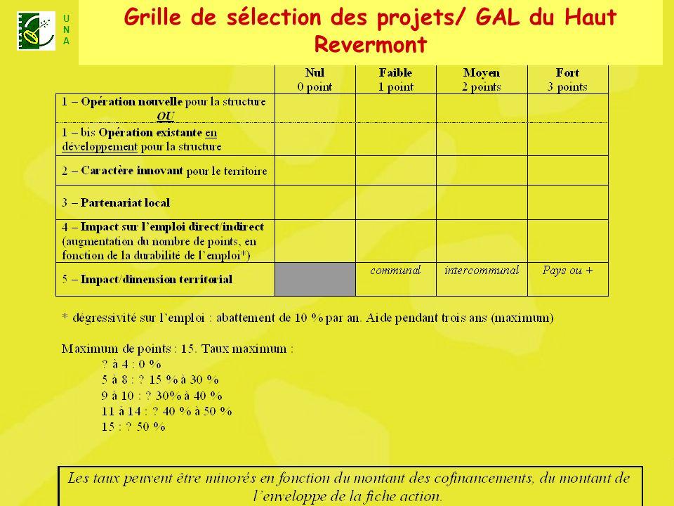 U N A Unité Nationale dAnimation LEADER+ Grille de sélection des projets/ GAL du Haut Revermont