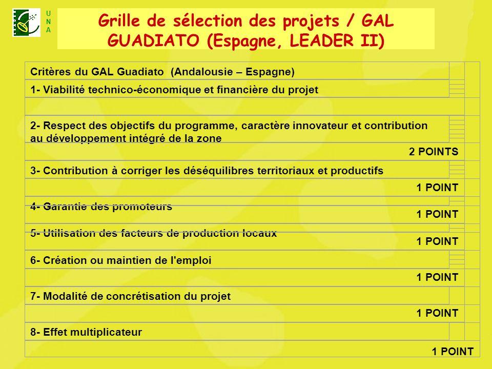 U N A Unité Nationale dAnimation LEADER+ Critères du GAL Guadiato (Andalousie – Espagne) 1- Viabilité technico-économique et financière du projet 2- Respect des objectifs du programme, caractère innovateur et contribution au développement intégré de la zone 2 POINTS 3- Contribution à corriger les déséquilibres territoriaux et productifs 1 POINT 4- Garantie des promoteurs 1 POINT 5- Utilisation des facteurs de production locaux 1 POINT 6- Création ou maintien de l emploi 1 POINT 7- Modalité de concrétisation du projet 1 POINT 8- Effet multiplicateur 1 POINT Grille de sélection des projets / GAL GUADIATO (Espagne, LEADER II)