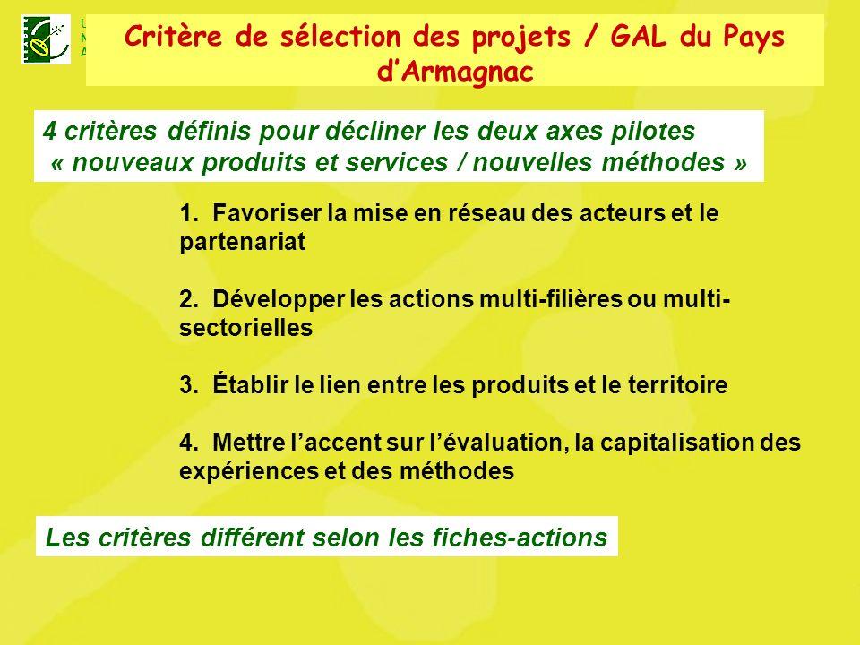 U N A Unité Nationale dAnimation LEADER+ 4 critères définis pour décliner les deux axes pilotes « nouveaux produits et services / nouvelles méthodes » 1.