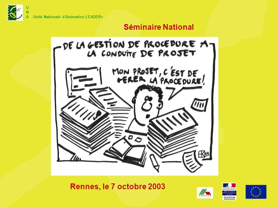 U N A Unité Nationale dAnimation LEADER+ Séminaire National Rennes, le 7 octobre 2003