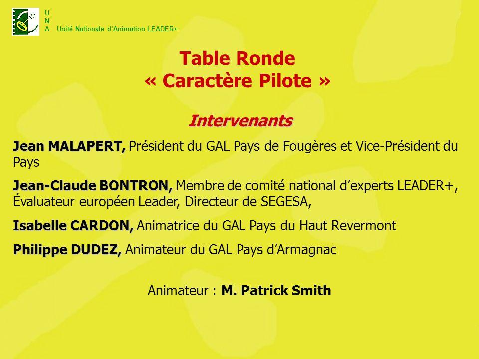 U N A Unité Nationale dAnimation LEADER+ Table Ronde « Caractère Pilote » Animateur : M. Patrick Smith Intervenants Jean MALAPERT, Jean MALAPERT, Prés