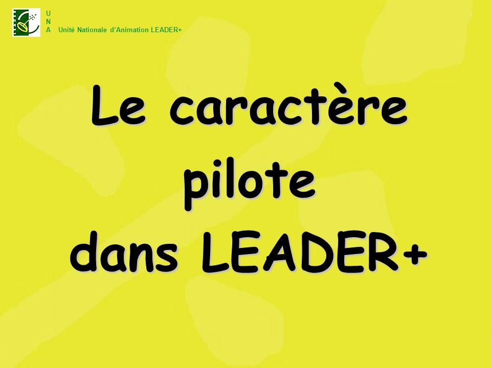 U N A Unité Nationale dAnimation LEADER+ Le caractère pilote dans LEADER+