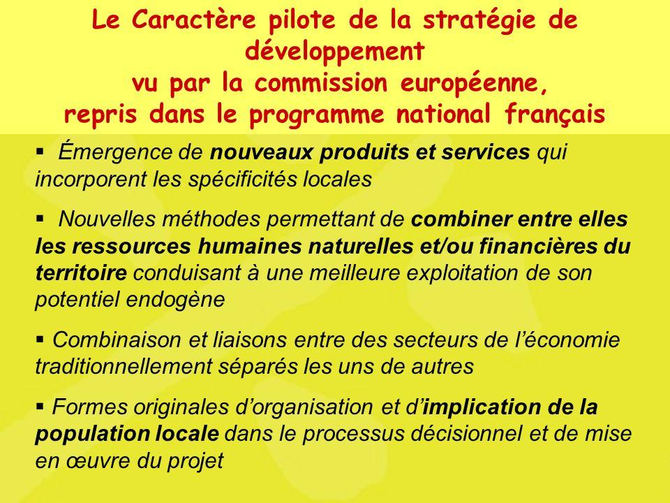 U N A Unité Nationale dAnimation LEADER+ Le Caractère pilote de la stratégie de développement vu par la commission européenne, repris dans le programm