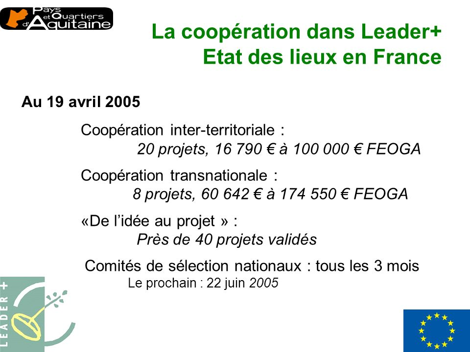 Au 19 avril 2005 Coopération inter-territoriale : 20 projets, 16 790 à 100 000 FEOGA Coopération transnationale : 8 projets, 60 642 à 174 550 FEOGA «D
