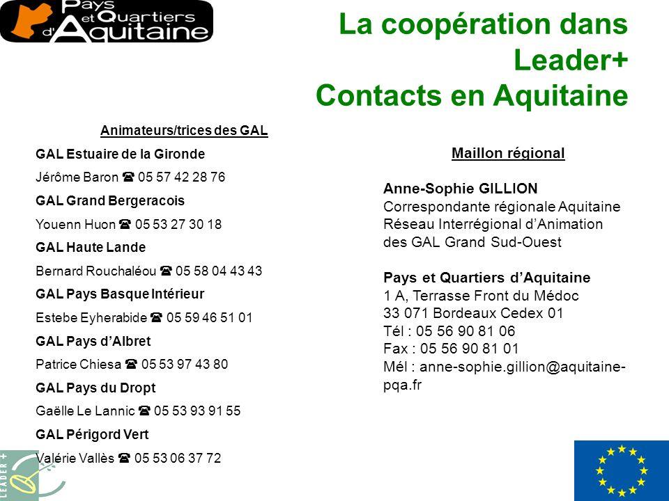 Maillon régional Anne-Sophie GILLION Correspondante régionale Aquitaine Réseau Interrégional dAnimation des GAL Grand Sud-Ouest Pays et Quartiers dAquitaine 1 A, Terrasse Front du Médoc 33 071 Bordeaux Cedex 01 Tél : 05 56 90 81 06 Fax : 05 56 90 81 01 Mél : anne-sophie.gillion@aquitaine- pqa.fr La coopération dans Leader+ Contacts en Aquitaine Animateurs/trices des GAL GAL Estuaire de la Gironde Jérôme Baron 05 57 42 28 76 GAL Grand Bergeracois Youenn Huon 05 53 27 30 18 GAL Haute Lande Bernard Rouchaléou 05 58 04 43 43 GAL Pays Basque Intérieur Estebe Eyherabide 05 59 46 51 01 GAL Pays dAlbret Patrice Chiesa 05 53 97 43 80 GAL Pays du Dropt Gaëlle Le Lannic 05 53 93 91 55 GAL Périgord Vert Valérie Vallès 05 53 06 37 72