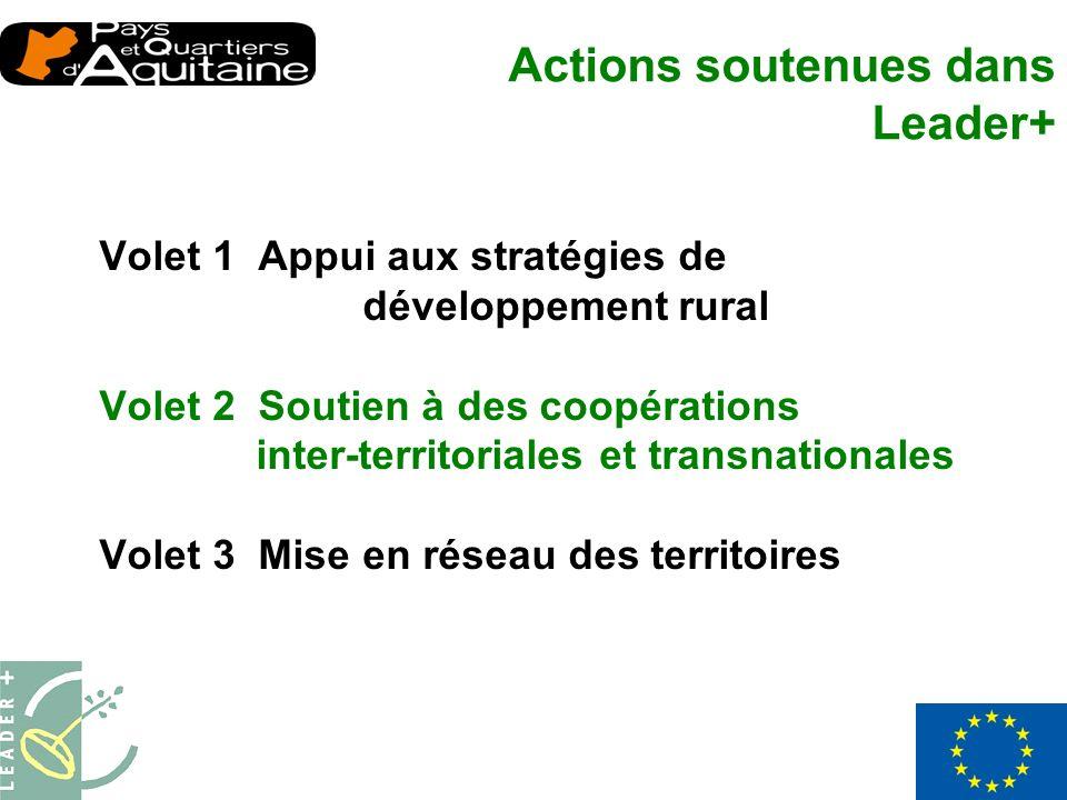 Volet 1 Appui aux stratégies de développement rural Volet 2 Soutien à des coopérations inter-territoriales et transnationales Volet 3 Mise en réseau des territoires Actions soutenues dans Leader+