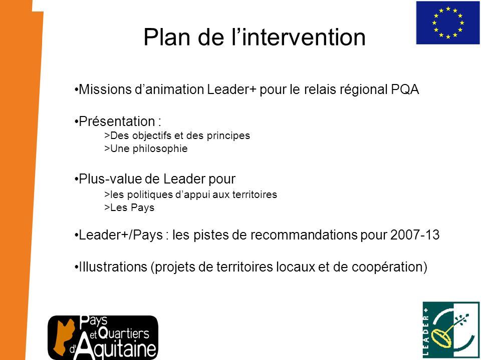 Plan de lintervention Missions danimation Leader+ pour le relais régional PQA Présentation : >Des objectifs et des principes >Une philosophie Plus-val