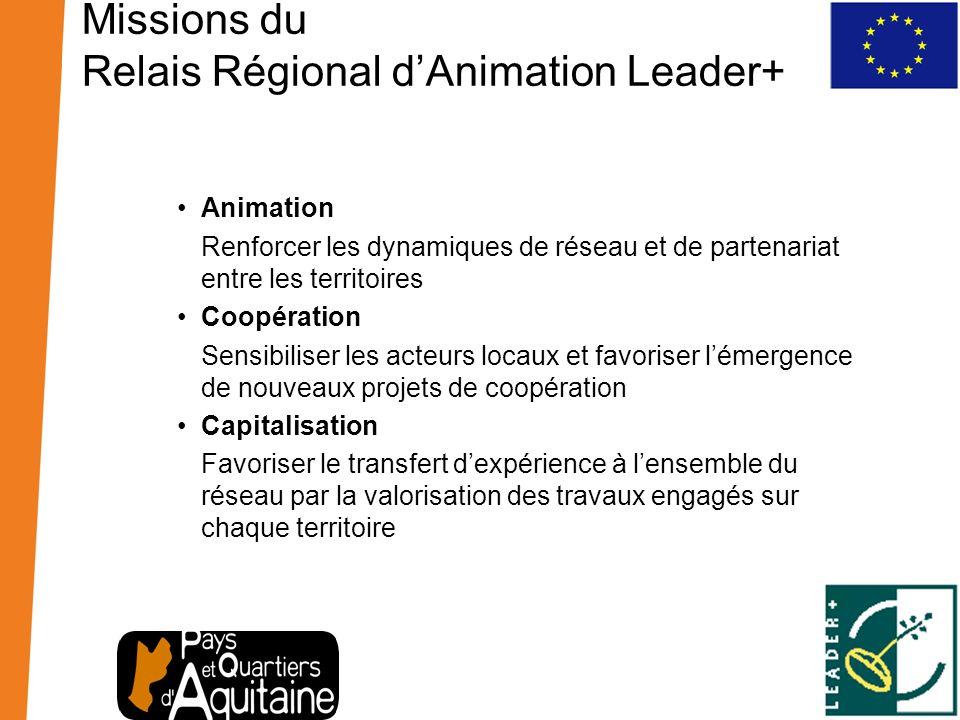 Missions du Relais Régional dAnimation Leader+ Animation Renforcer les dynamiques de réseau et de partenariat entre les territoires Coopération Sensib