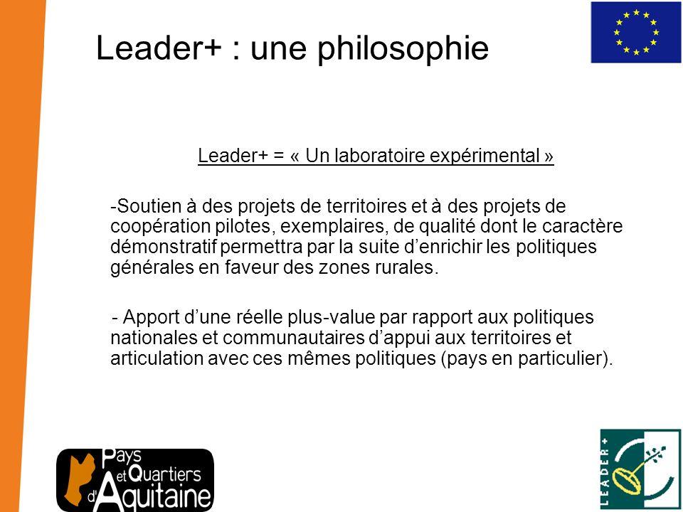 Leader+ : une philosophie Leader+ = « Un laboratoire expérimental » -Soutien à des projets de territoires et à des projets de coopération pilotes, exe