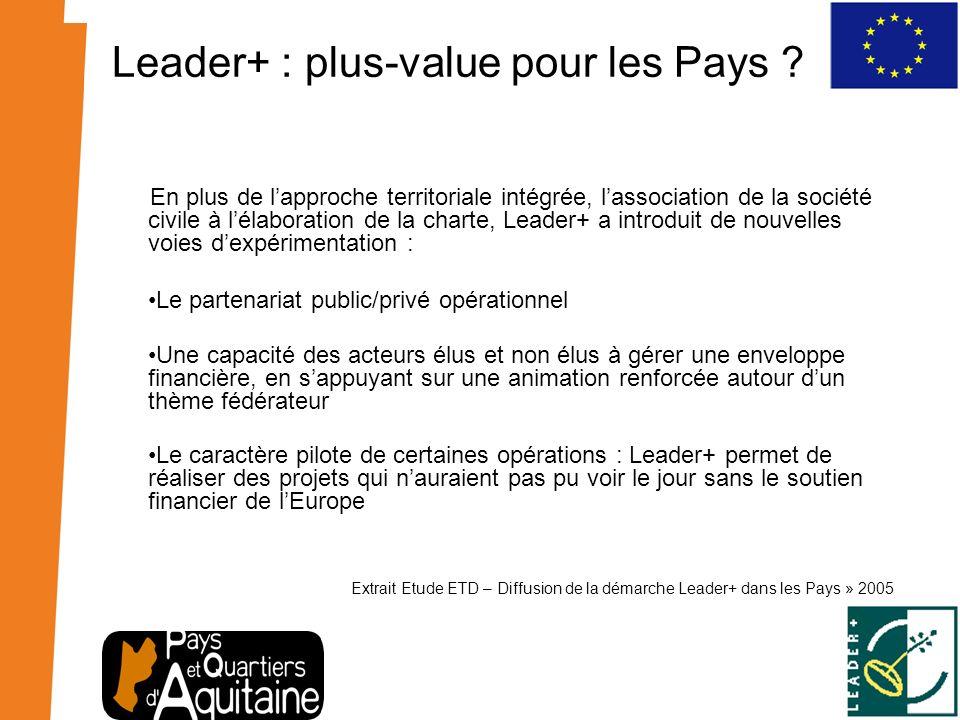 Leader+ : plus-value pour les Pays ? En plus de lapproche territoriale intégrée, lassociation de la société civile à lélaboration de la charte, Leader