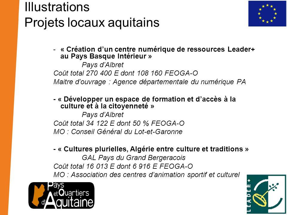 Illustrations Projets locaux aquitains -« Création dun centre numérique de ressources Leader+ au Pays Basque Intérieur » Pays dAlbret Coût total 270 4
